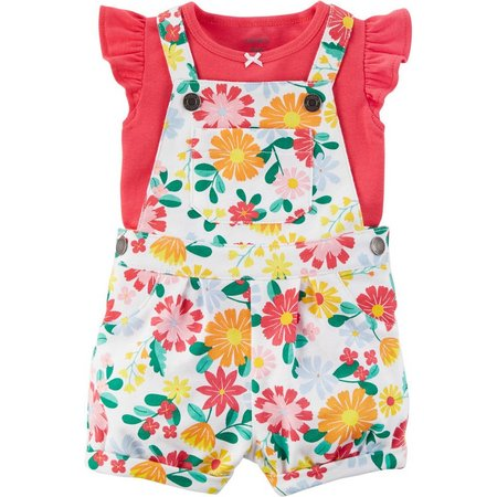 Carters Baby Girls Floral Shortalls Set
