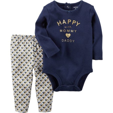 Carters Baby Girls Happy Mom & Dad Bodysuit