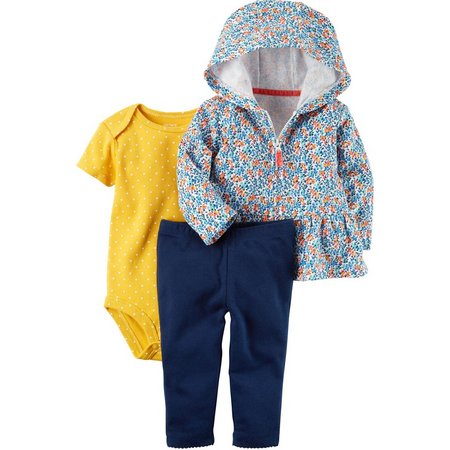 Carters Baby Girls 3-pc. Floral Hoodie Layette Set