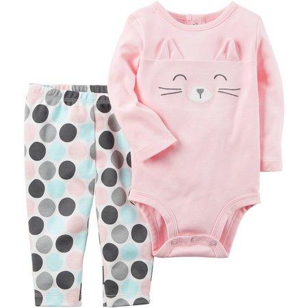 Carters Baby Girls Cat Face Bodysuit Set