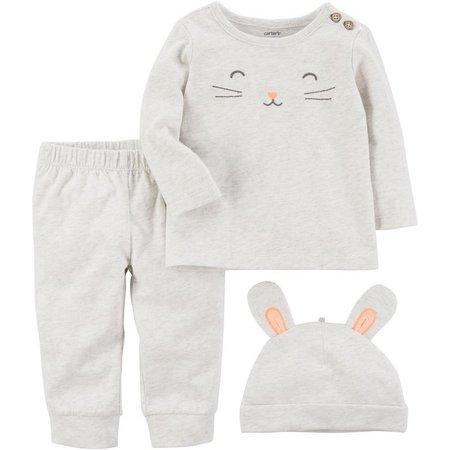 Carters Baby Girls 3-pc. Bunny Rabbit Layette Set