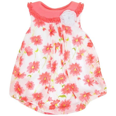 Baby Essentials Baby Girls Floral Bubble Romper