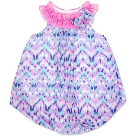 Baby Essentials Baby Girls Chevrons Bubble Romper