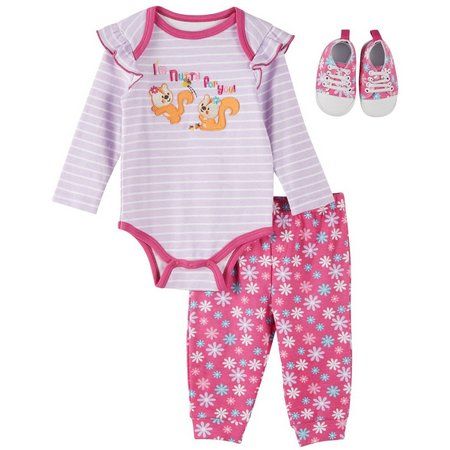 Buster Brown Baby Girls 3-pc. Nutty Layette Set