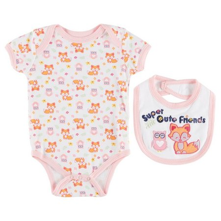 Buster Brown Baby Girls Super Cute Friends Bodysuit