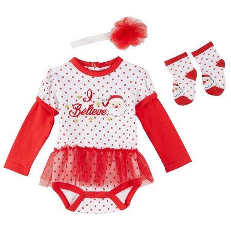 Weeplay Baby Girls 3-pc. I Believe Santa Layette