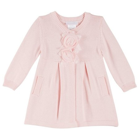 Bonnie Jean Baby Girls Flower Knit Cardigan
