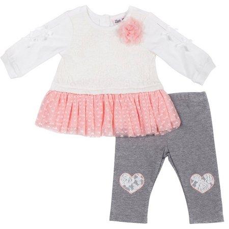 Little Lass Baby Girls Lace Heart Leggings Set