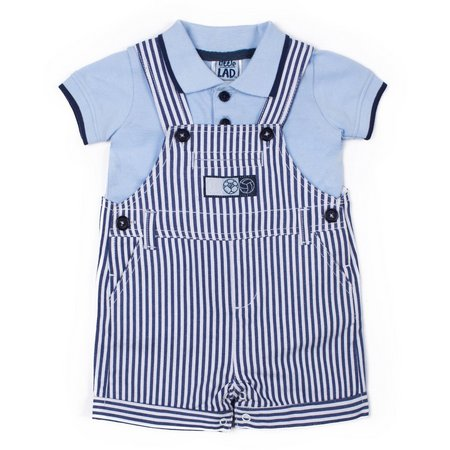 Little Lad Baby Boys Stripe Denim Shortalls Set