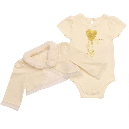 Baby Starters Baby Girls Heart Shrug Bodysuit Set