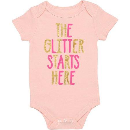 Baby Starters Baby Girls Glitter Starts Bodysuit