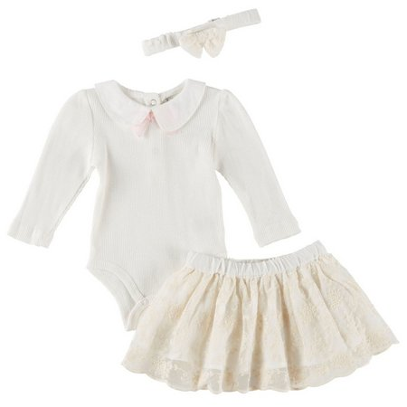 Harry & Violet Baby Girls 3-pc. Lace Skirt