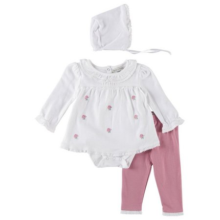 Harry & Violet Baby Girls 3-pc. Rose Bud
