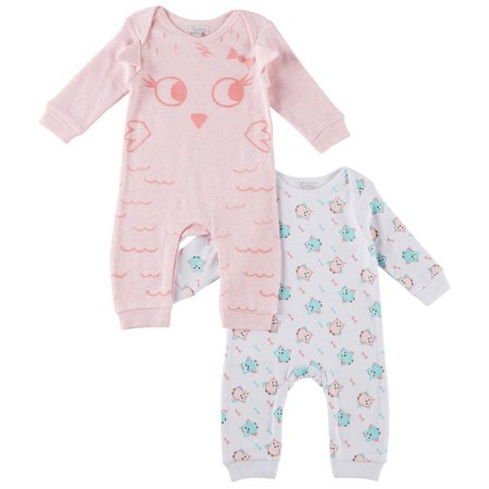 Quiltex Baby Girls 2-pk. Furry Owl Coverall Set