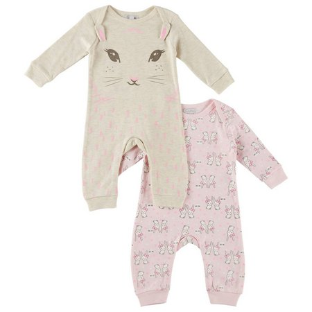 Quiltex Baby Girls 2-pk. Bunny Coveralls