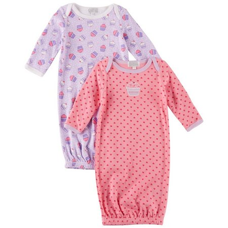 Quiltex Baby Girls 2-pk. Cupcake Sleeper Gowns
