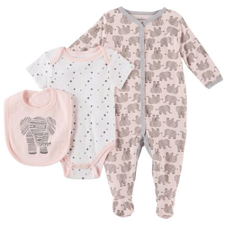 Quiltex Baby Girls 3-pc. Elephant Layette Set