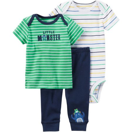 Carters Baby Boys 3-pc. Little Monster Stripe Layette