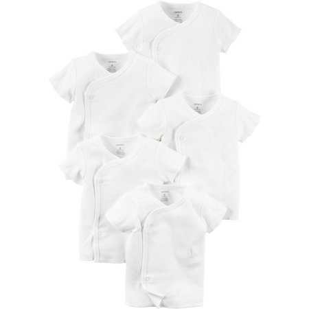 Carters Baby Unisex 5-pk. Solid Side Snap T-Shirts