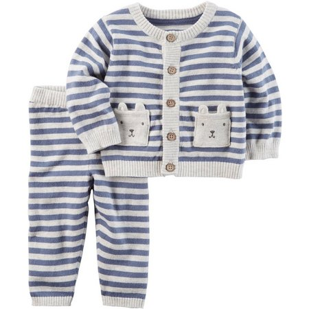 Carters Baby Boys Bear Pocket Sweater Set