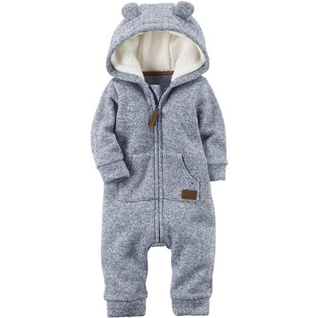 Carters Baby Boys Hooded Sherpa Jumpsuit