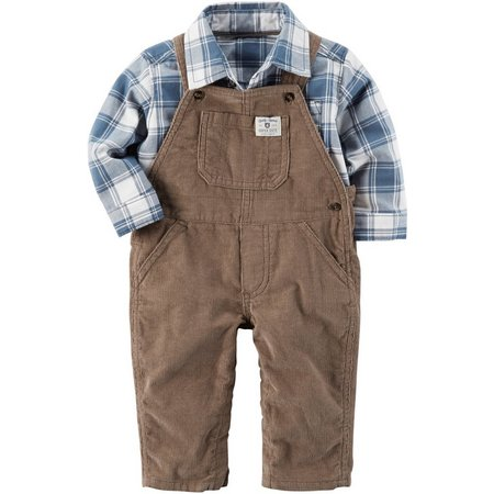 Carters Baby Boys Plaid Corduroy Overall Set