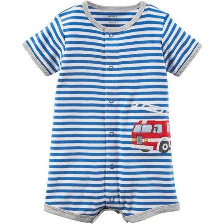 Carters Baby Boys Stripe Fire Truck Romper