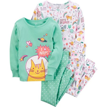 Carters Baby Girls 4-pc. Cats In Space Pajama