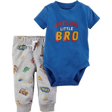 Carters Baby Boys Awesome Little Bro Bodysuit Set