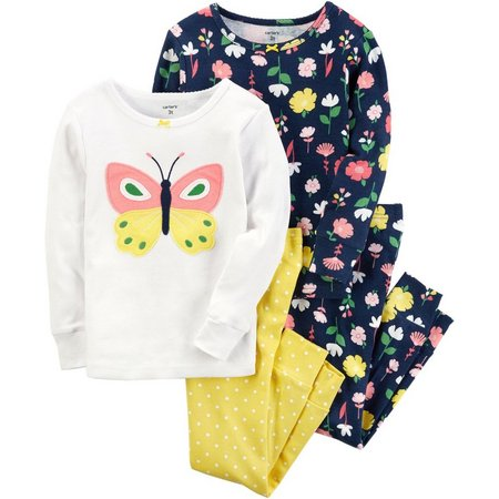 Carters Baby Girls 4-pc. Butterfly Dots Pajama Set
