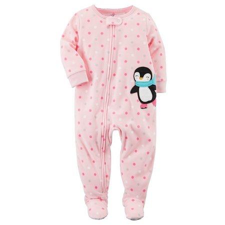 Carters Baby Girls Penguin Fleece Sleep & Play