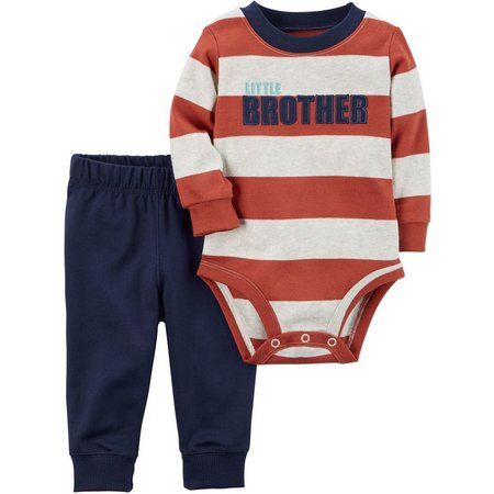 Carters Baby Boys Lil Bro Stripe Bodysuit Set