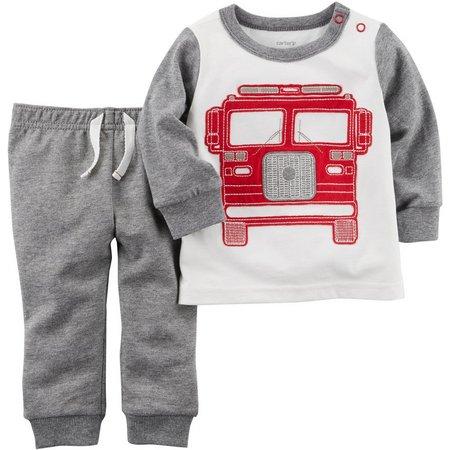 Carters Baby Boys Fire Truck Pants Set