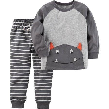 Carters Baby Boys Monster Stripe Pants Set