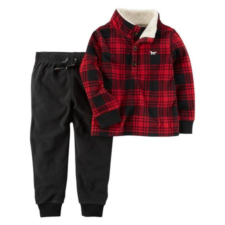 Carters Baby Boys Plaid Pullover Jogger Set