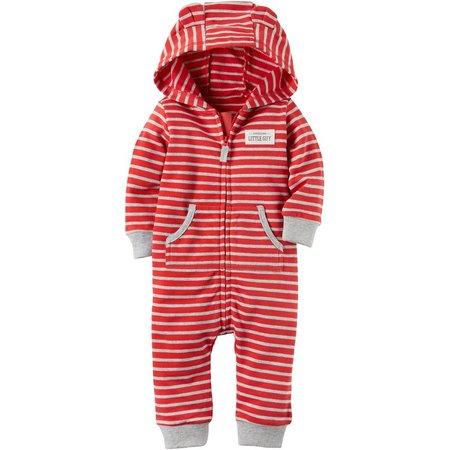Carters Baby Boys Hooded Stripe Jumpsuit