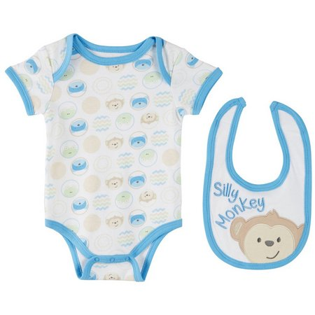 Buster Brown Baby Boys Silly Monkey Bodysuit Set