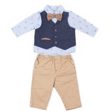 Little Lad Baby Boys Bear Mock Vest Pants