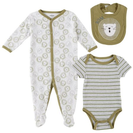 Quiltex Baby Boys 3-pc. Lion Roar Layette Set