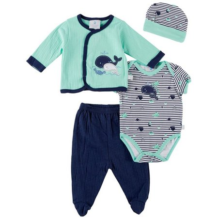 Duck Duck Goose Baby Boys 4-pc. Whale Layette