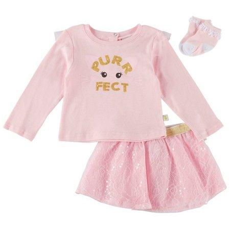 Duck Duck Goose Baby Girls 3-pc. Purrfect Skirt