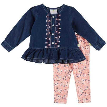 Duck Duck Goose Baby Girls Floral Ruffle Leggings