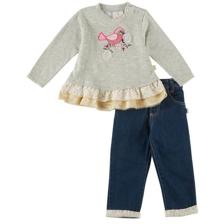 Duck Duck Goose Baby Girls Bird Tunic Jeans