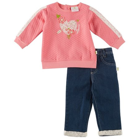 Duck Duck Goose Baby Girls Love Jeans Set