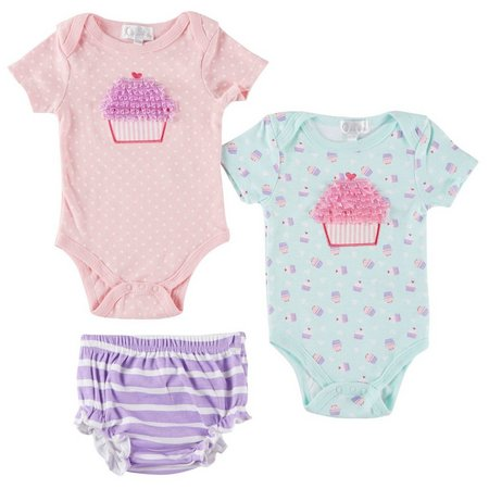 Quiltex Baby Girls 3-pc. Cupcake Boxed Layette Set
