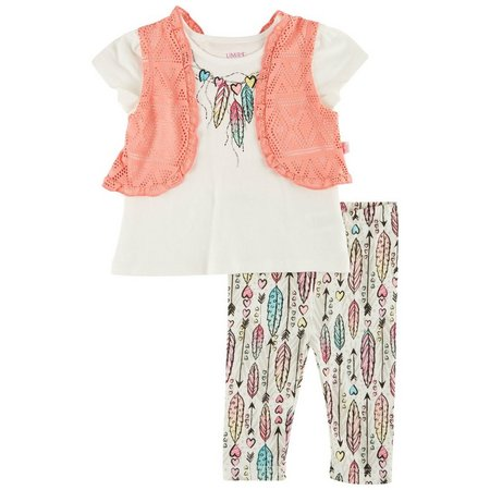 Limited Too Baby Girls Feather Vest Leggings Set