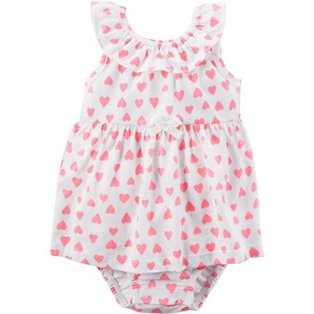 Carters Baby Girls Heart Print Sunsuit