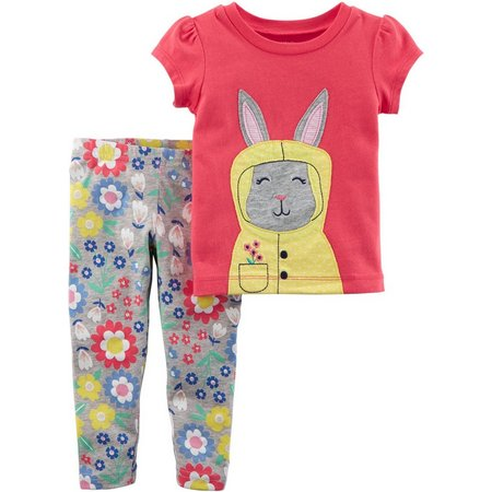 Carters Baby Girls Floral Bunny Leggings Set