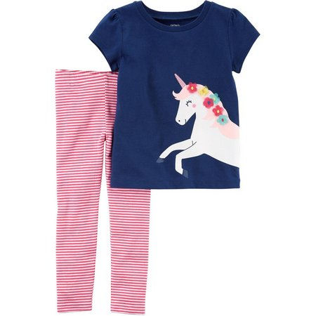 Carters Baby Girls Unicorn Striped Leggings Set