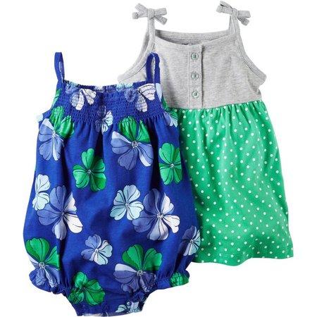Carters Baby Girls Polka Dot Dress & Romper